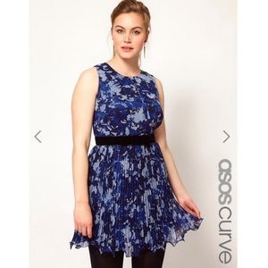 ASOS curve floral pleated bow dress